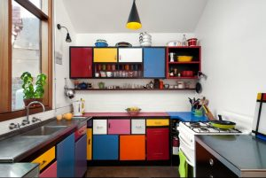 multicolor kitchen interior cabinets