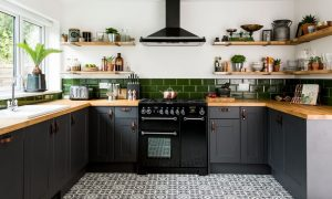 Kitchen interior color in grey