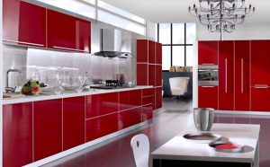 Kitchen interior in red